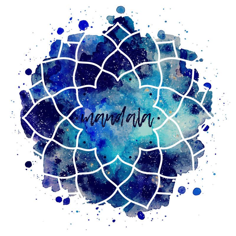 Watercolor geometric cosmic frame vector vector illustration
