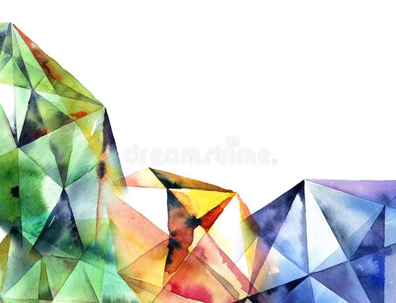 Watercolor geometry background royalty free illustration
