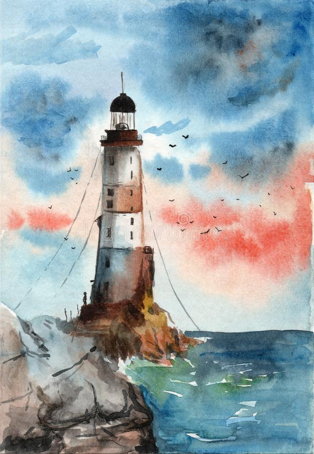 Watercolor gift card of a lighthouse with birds and a man on a rocks in a cloudy day stock illustration