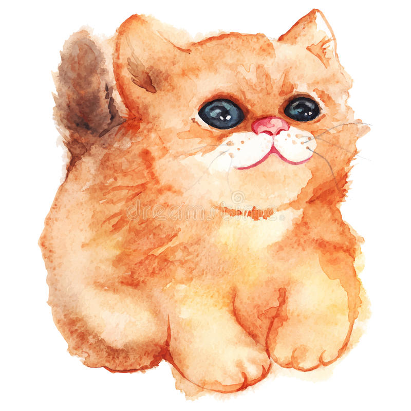 Watercolor cute cartoon fluffy ginger cat vector isolated royalty free illustration