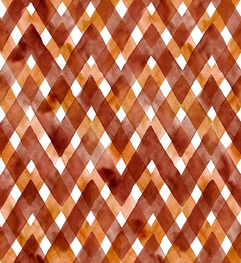 Watercolor gingham of dark coffee colors on white background. Seamless pattern for fabric stock illustration