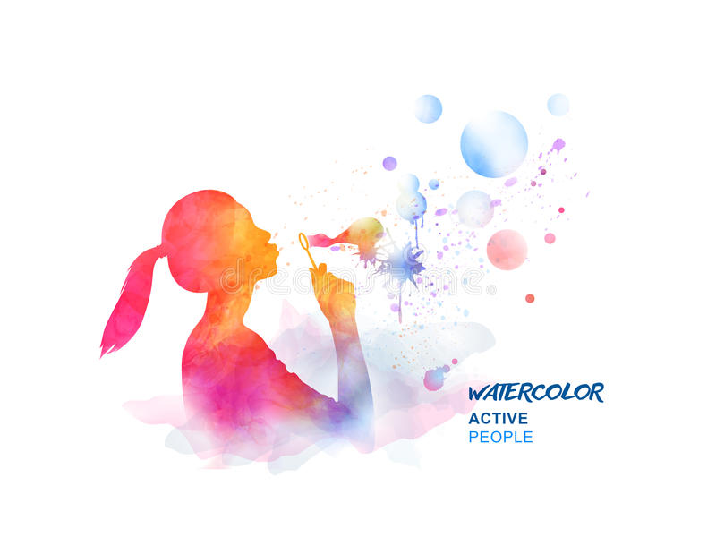 Watercolor girl blowing bubbles vector illustration