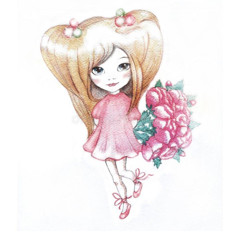 Watercolor Girl stock illustration