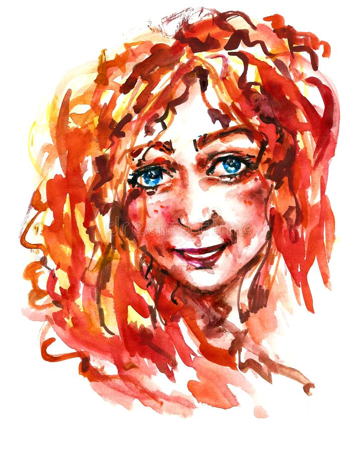 Watercolor girl with long red hair vector illustration