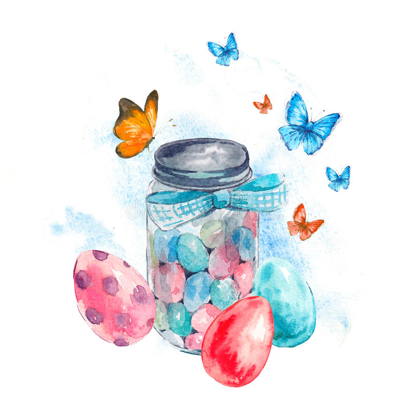 Free Watercolor Glass Jar With Candy, Butterfly And Eggs Royalty Free Stock Photo - 87883045