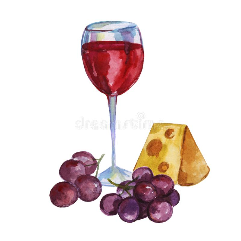 Watercolor glass of red wine with cheese, and blue grapes. Kitchen still life. Hand painted design isolated on white background royalty free illustration