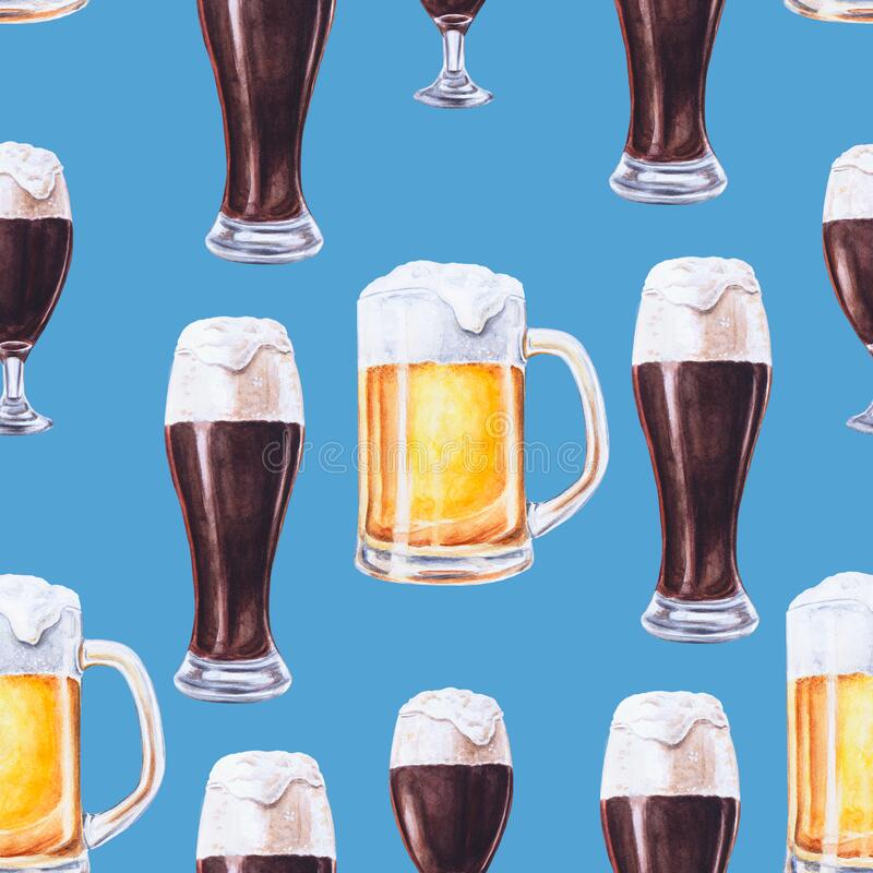 Free Watercolor Glasses And Beer Mugs. Dark And Light Beer. Hand Painted Oktoberfest Seamless Pattern. Bavarian Blue Color. Pint Of Bee Stock Photos - 185950473