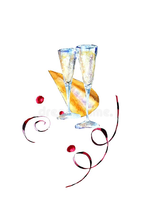 Watercolor glasses with sparkling wine, carnival hat and paper streamers vector illustration