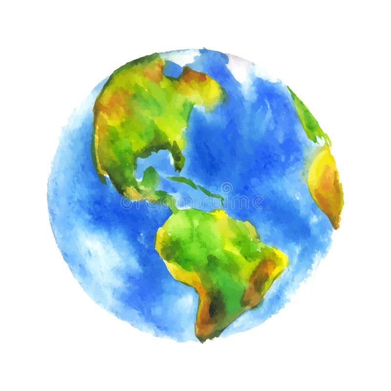Watercolor globe. Globe Earth painted watercolor. Hand drawing. Vectorized watercolor illustration