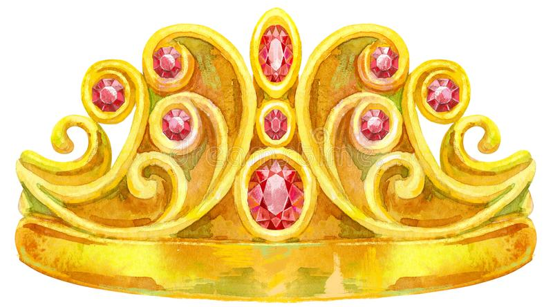 Watercolor golden crown Princess. Watercolor Gold Crown with jewels of ruby stock illustration