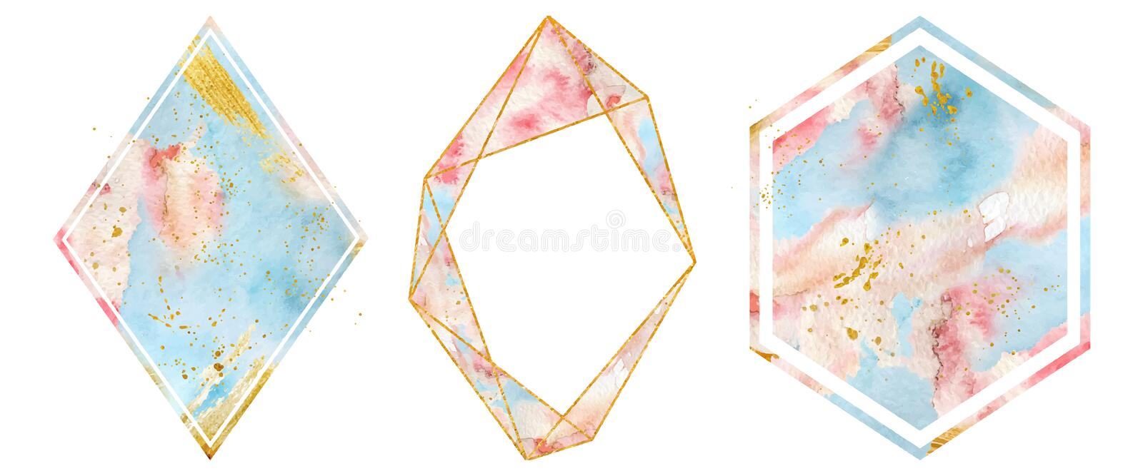 Watercolor gold frames set in soft pastel pink and blue colors. Polygonal heart shape. stock illustration