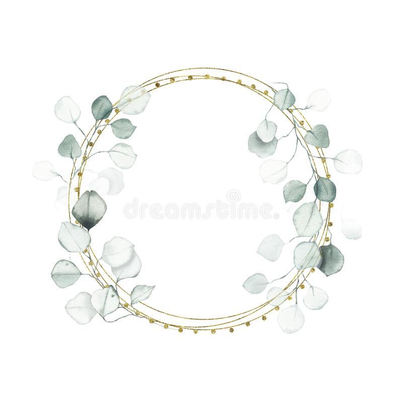 Watercolor gold geometrical round frame with eucalyptus dusty green leaf stock image