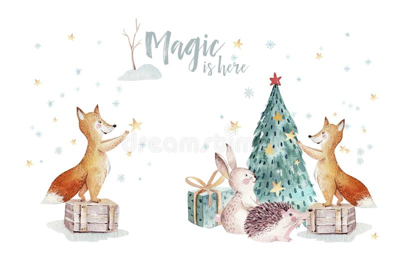 Watercolor gold Merry Christmas illustration with snowman, christmas tree , holiday cute animals fox, rabbit and royalty free illustration