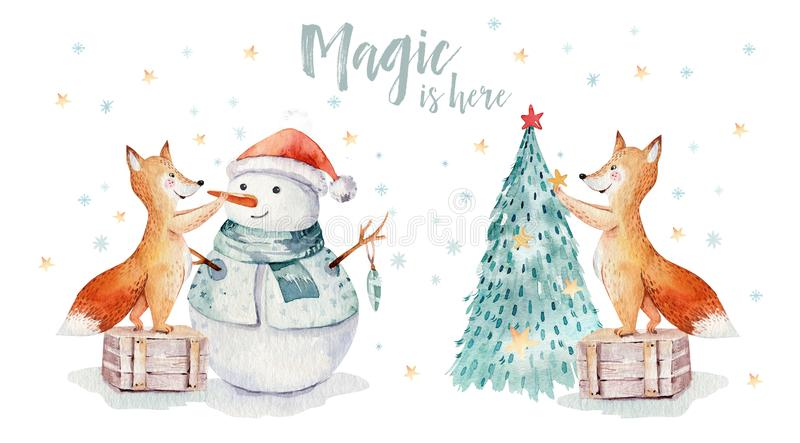 Watercolor gold Merry Christmas illustration with snowman, christmas tree , holiday cute animals fox, rabbit and stock illustration