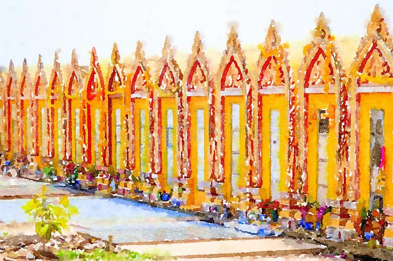 Watercolor of gold pagoda in public temple at Thailand. Art watercolor of gold pagoda in public temple at Thailand stock illustration