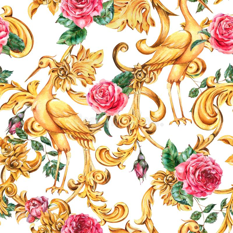 Watercolor golden baroque crane seamless pattern and red rose, floral curl, rococo ornament. Hand drawn gold scroll stock illustration