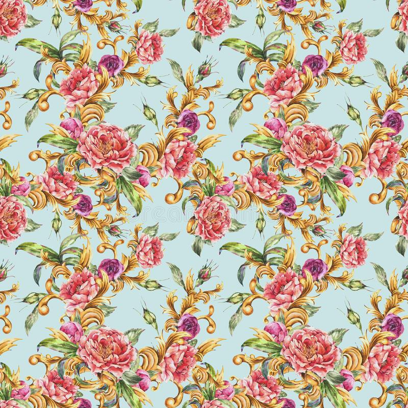Watercolor golden baroque floral curl with blooming flowers seamless pattern. Roses and Peonies, rococo texture vector illustration