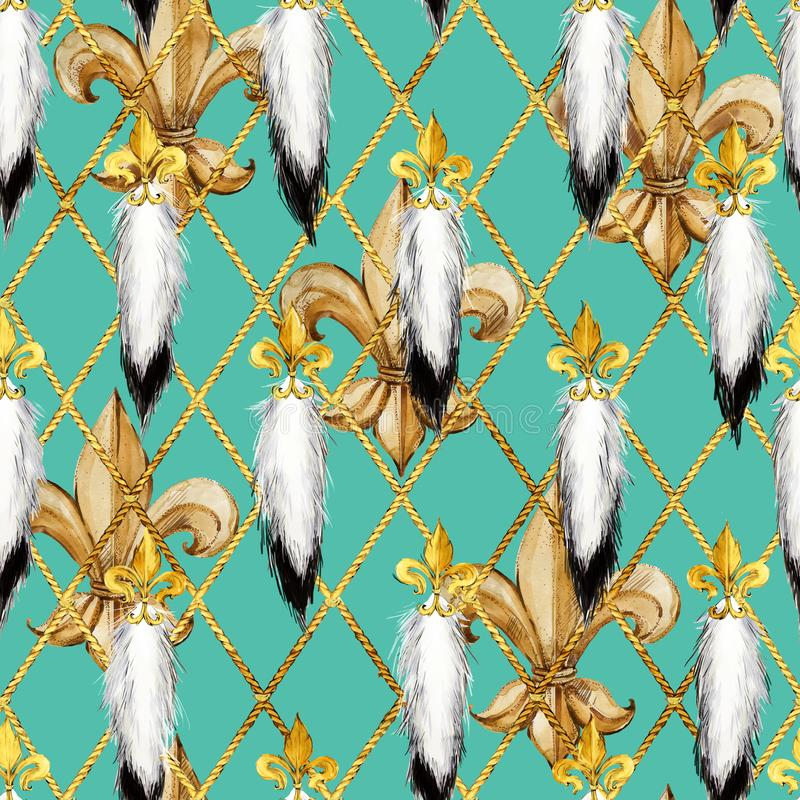 Watercolor golden fleur-de-lis pattern. Royal Gold lily. ermine tails seamless illustration. royalty free illustration
