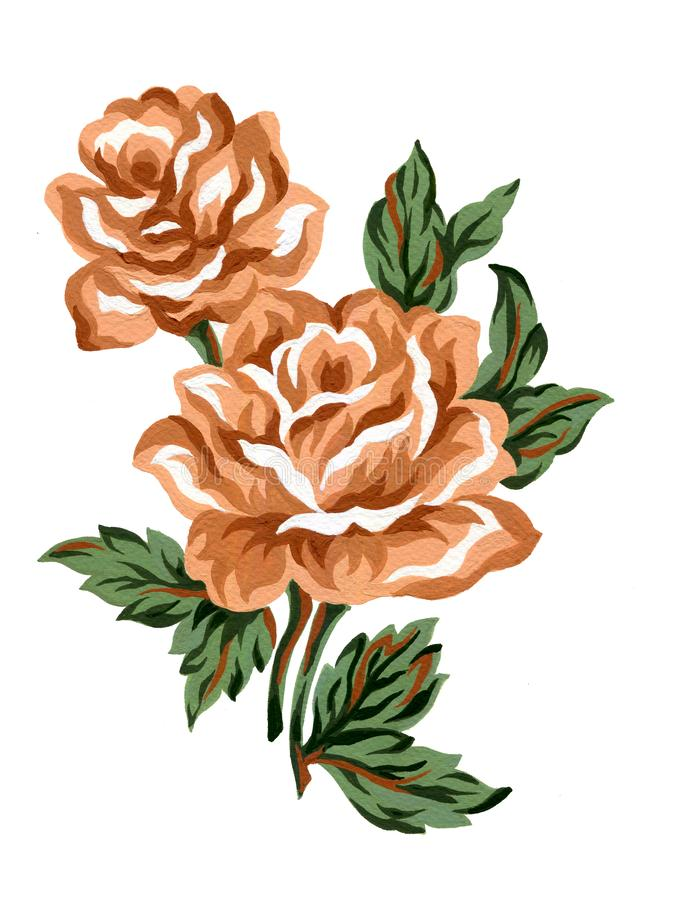 Watercolor gouache flower orange brown rose bouquet green leaves Colorful concept arrangements for greeting card or invitation vector illustration