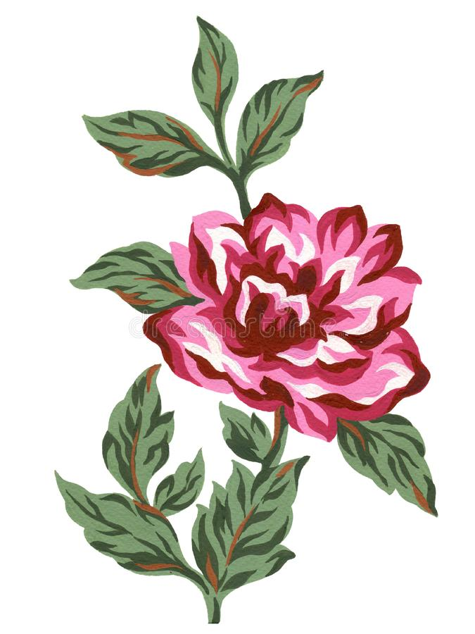 Watercolor gouache flower red pink rose bouquet green leaves Colorful concept arrangements for greeting card or invitation design royalty free illustration