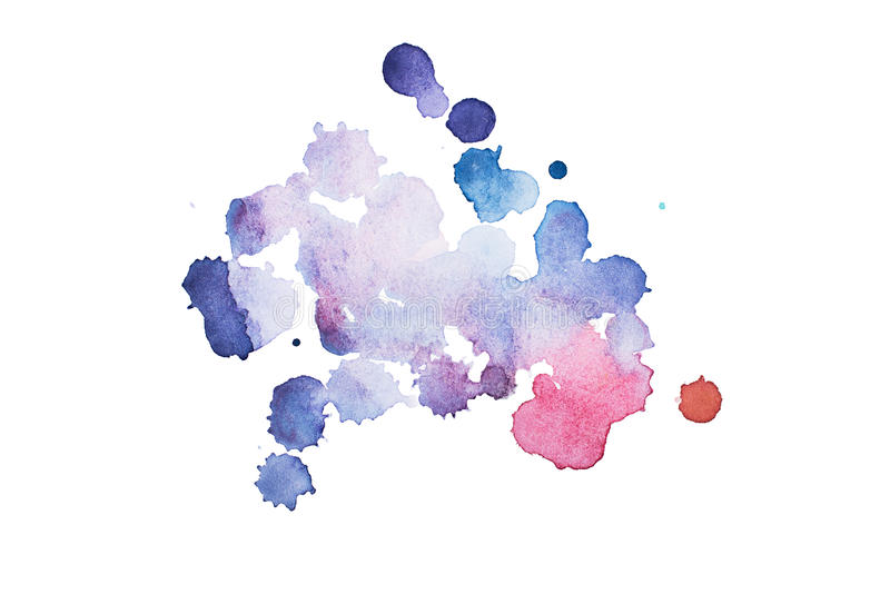 Watercolor, gouache paint. Blue Abstract stains splatter splashes with rough texture. stock photo