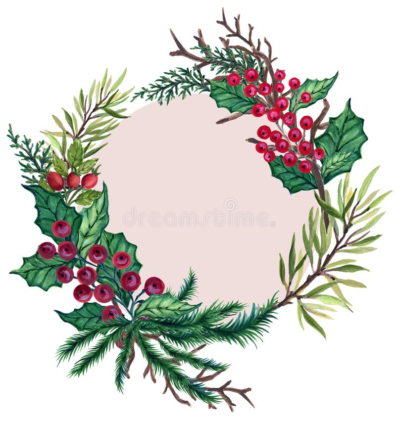 Watercolor Gouache vintage retro hand painted Christmas wreath frame decorative fir tree branches for winter holidays card poster stock illustration