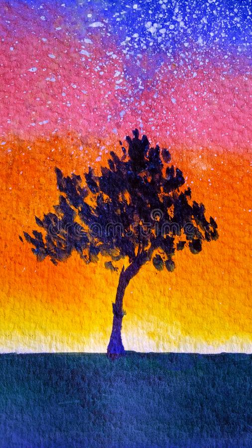 Watercolor gradient background from the silhouette of a lonely young tree with foliage on the backdrop of the starry sky at sunset royalty free illustration