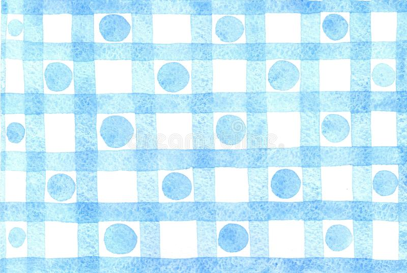 Watercolor blue cage pattern with dots vector illustration