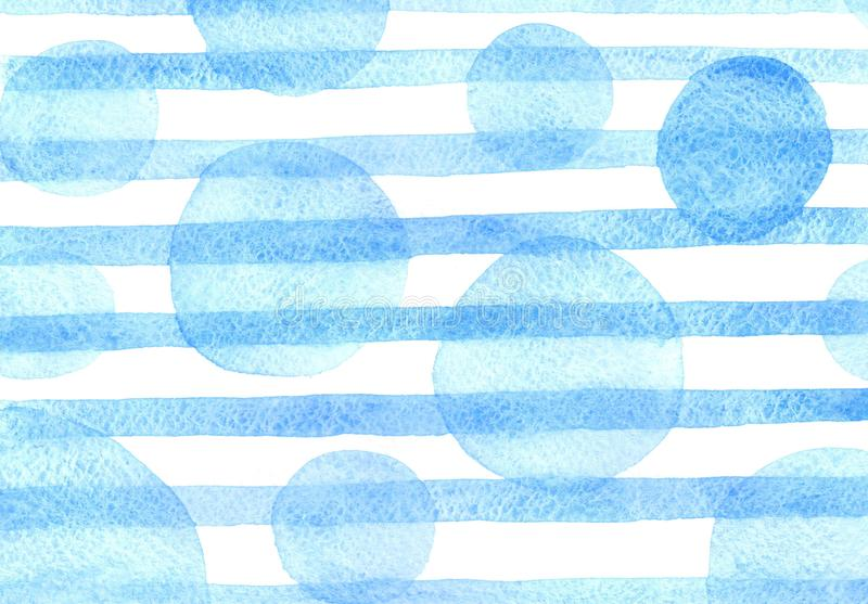 Watercolor blue pattern with strips and sircles stock illustration