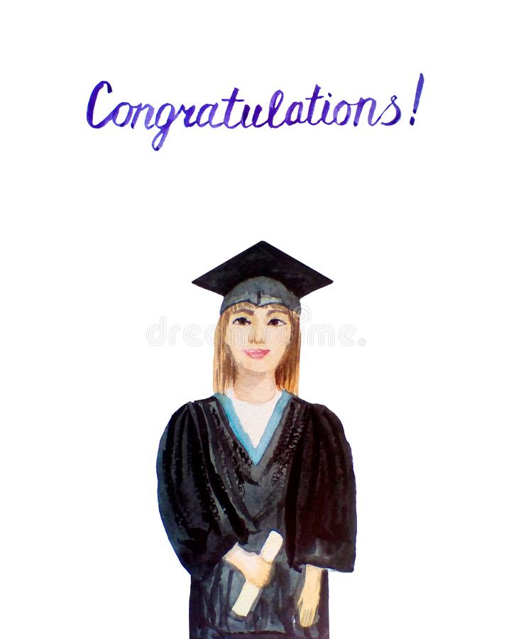 Watercolor graduate student. Hand drawn  young woman in a graduation cap and mantle with a university diploma. celebrating royalty free stock image