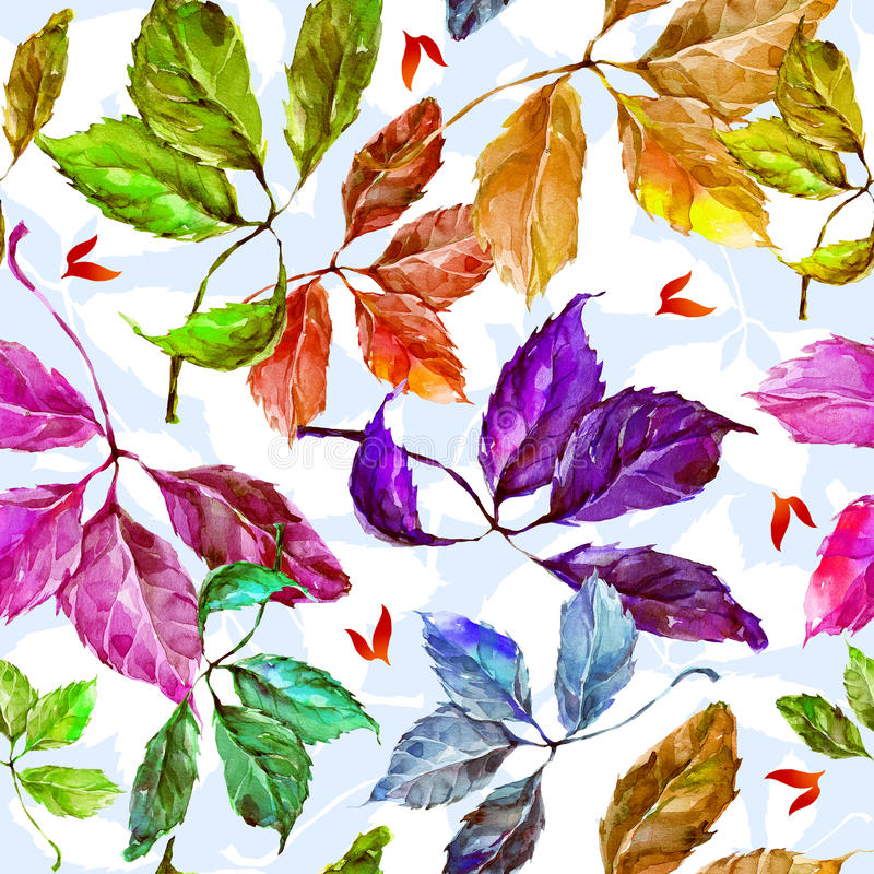 Watercolor grapes colorful leaves seamless pattern vector illustration