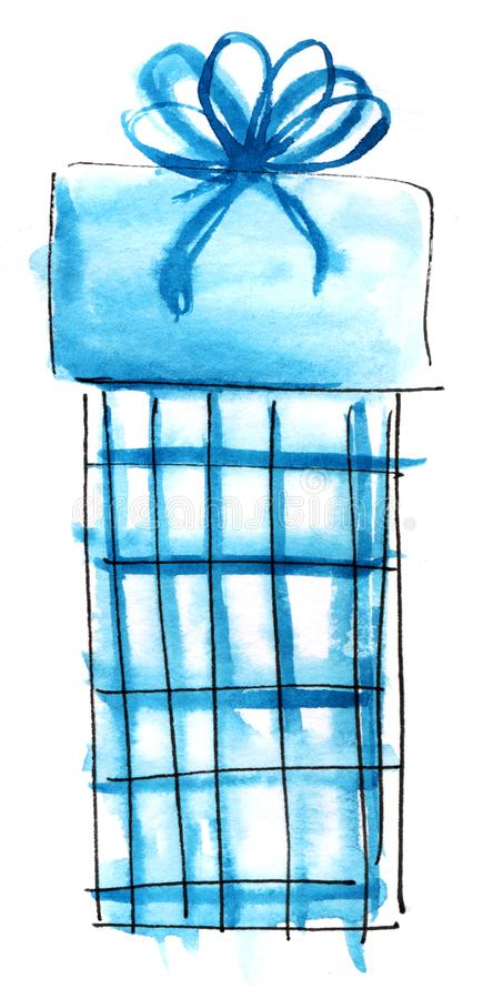 Watercolor graphic element. Blue checkered gift box with a lush bow. Hand drawn on paper sketch illustration.  stock illustration
