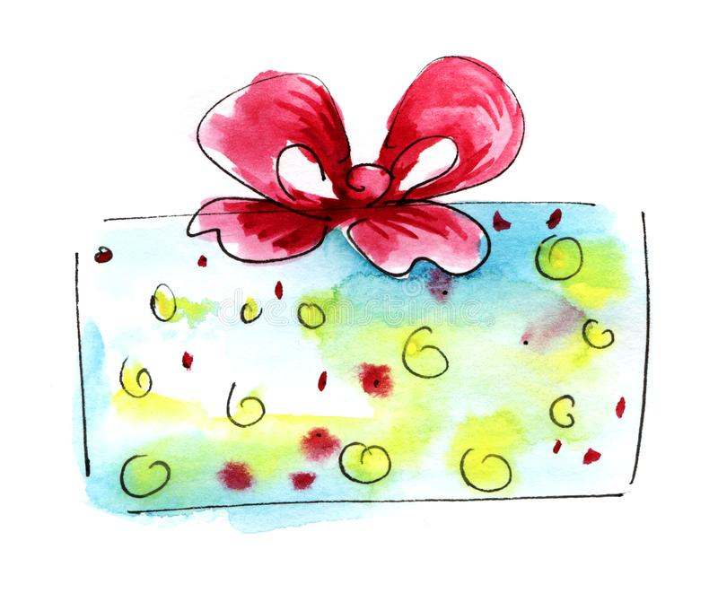 Watercolor graphic element. Light blue yellow dots Gift box with a magnificent bow. Hand drawn on paper sketch illustration.  vector illustration