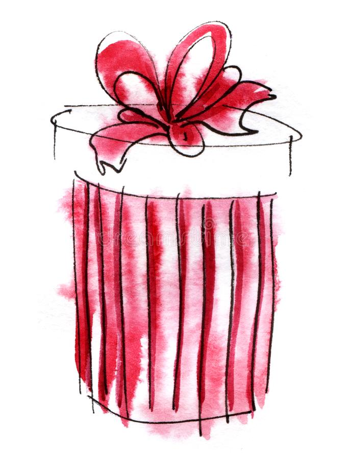 Watercolor graphic element. red striped round gift box with a magnificent bow. Hand drawn on paper sketch illustration.  stock illustration