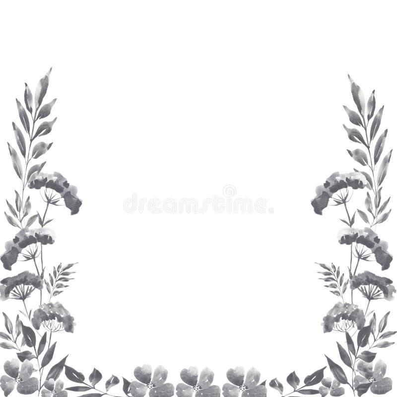 Watercolor graphite floral frame vector illustration