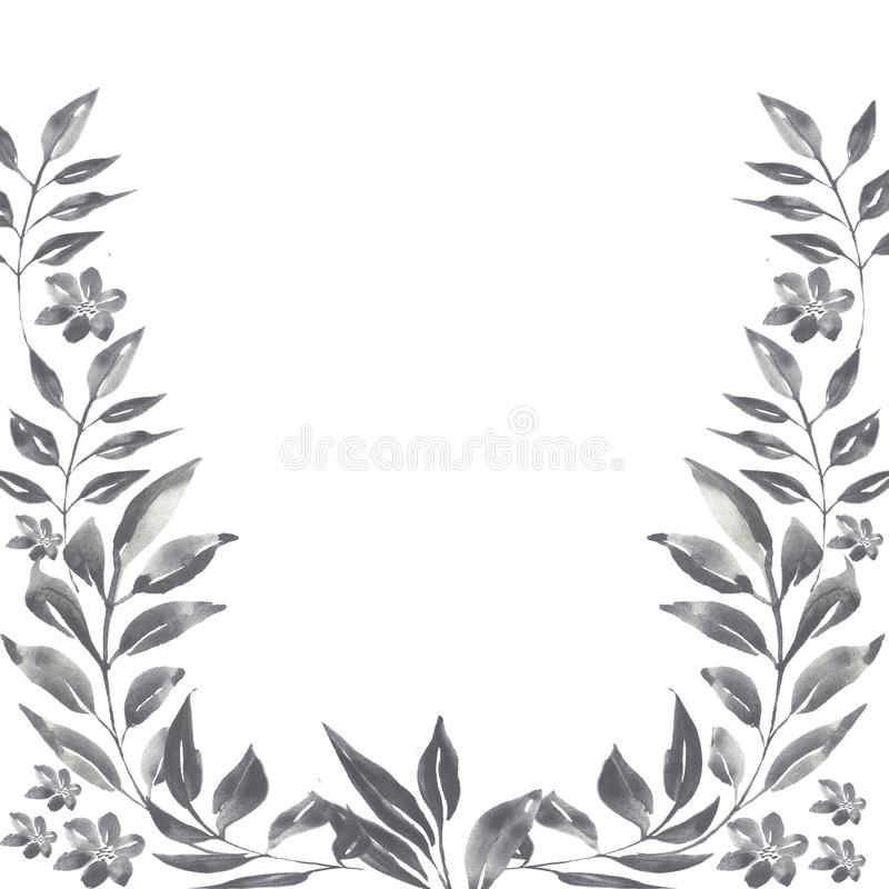 Watercolor graphite floral frame royalty free illustration
