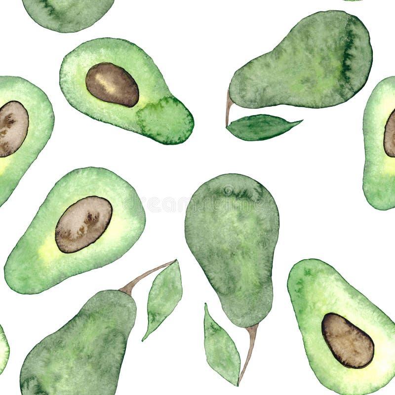 Watercolor green avocado vegan seamless  pattern stock illustration