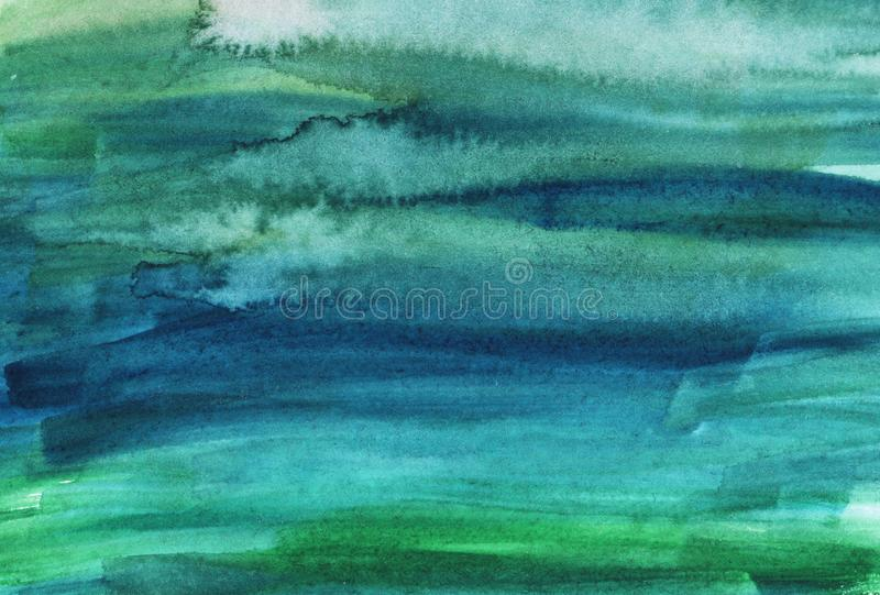 Watercolor green and blue bright abstract background stock photo