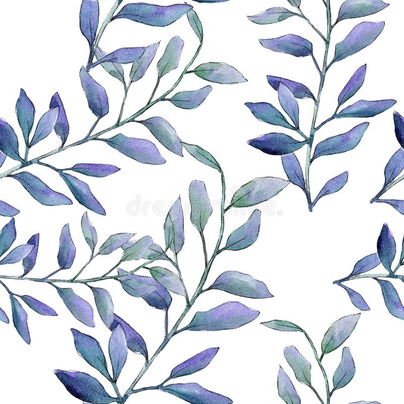 Watercolor green boxwood leaves. Leaf plant botanical garden floral foliage. Seamless background pattern. royalty free illustration