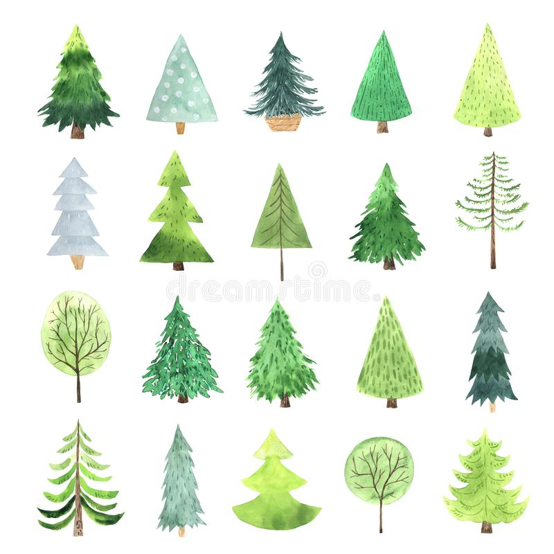 Watercolor green Christmas Tree set. In scandihavian hugge style. Decorative simple cute evergreen forest tree collection. Winter holiday elements perfect for royalty free illustration