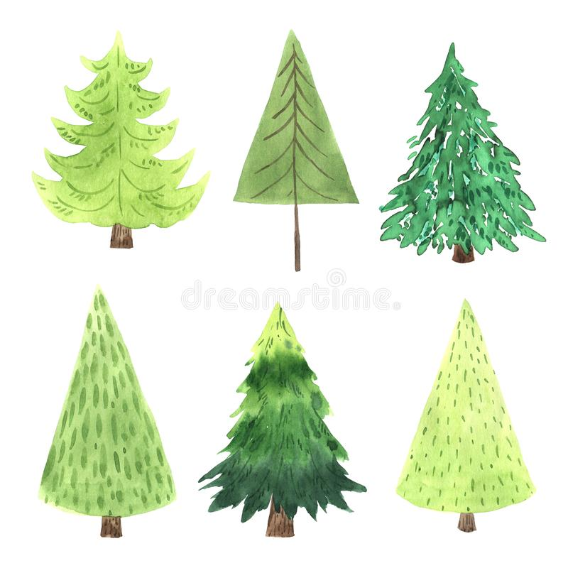 Watercolor green Christmas Tree set. In simple cute cartoon style. Decorative evergreen forest tree collection. Winter holiday elements perfect for new year vector illustration
