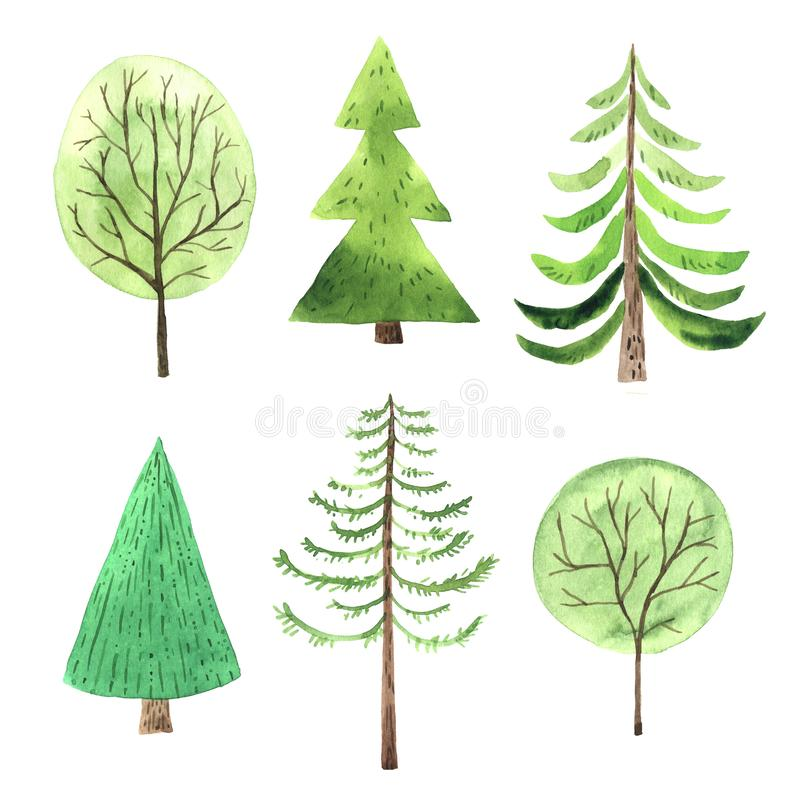 Watercolor green Christmas Tree set. In simple cute cartoon style. Decorative evergreen forest tree collection. Winter holiday elements perfect for new year royalty free illustration