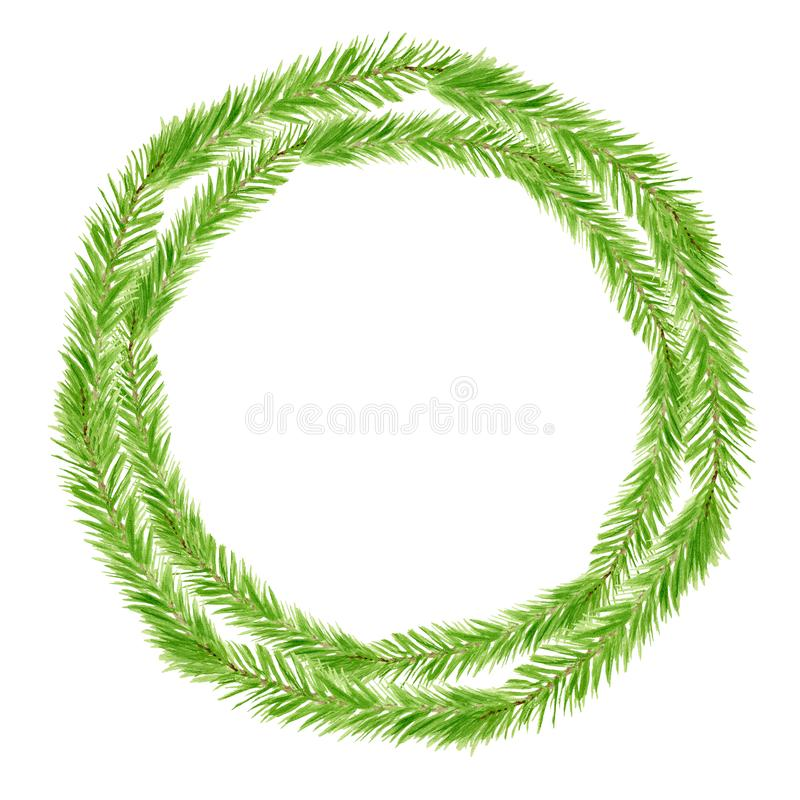 Watercolor green Christmas wreath with spruce branches. Hand drawn minimalistic door decoration isolated on white background. Round frame template for greeting royalty free stock photography