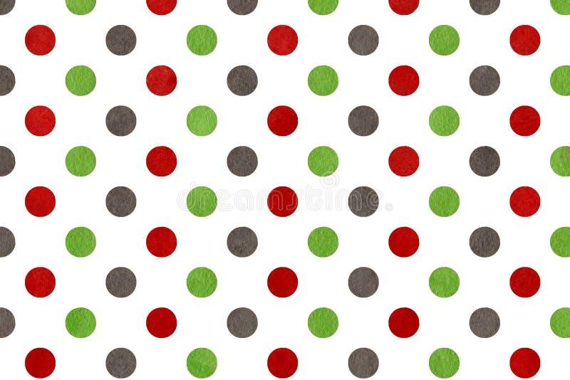 Watercolor green, dark red and grey polka dot background. Watercolor dots in green, dark red and grey color. Watercolor green, dark red and grey polka dot royalty free illustration