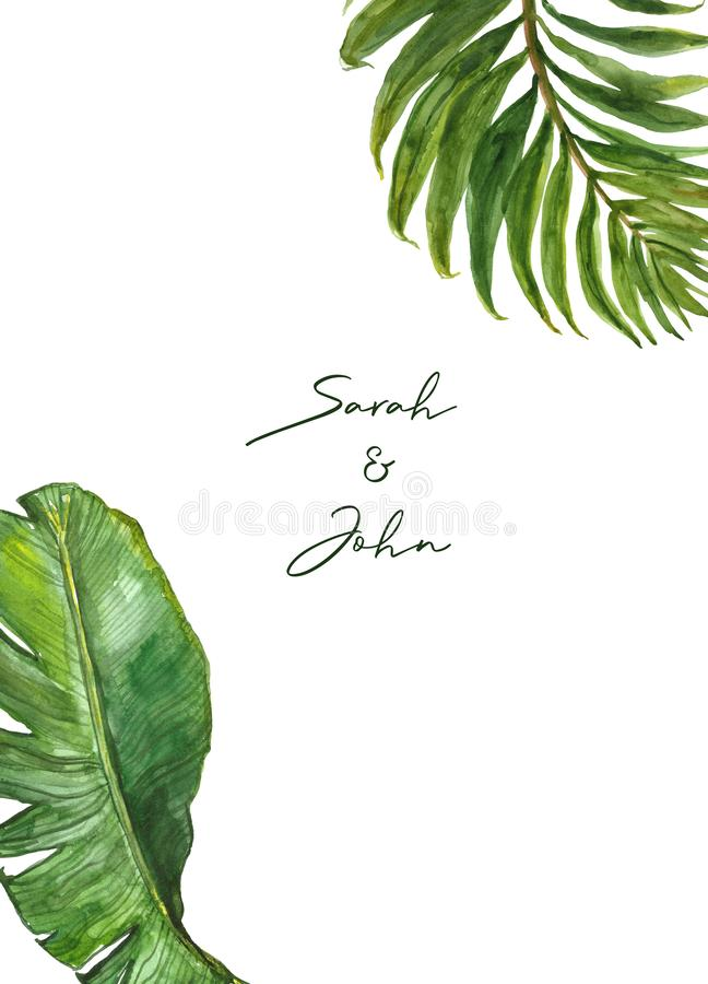 Watercolor green foliage frame template for wedding invitations, cards. Tropical leaves on white background. Modern template. royalty free illustration