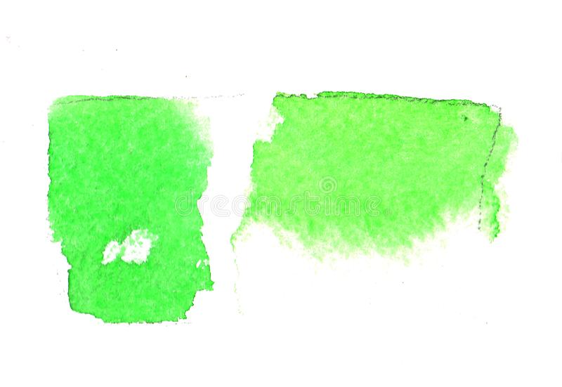 Green watercolor spot for design background. Abstract composition for design elements. Watercolor green ink spot. Wet brush stroke on paper texture. Dry brush stock images