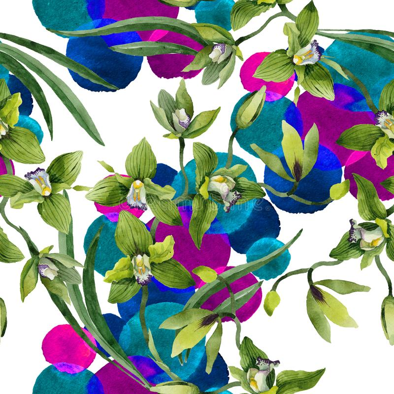 Watercolor green orchid flowers. Floral botanical flower. Seamless background pattern. Fabric wallpaper print texture. Aquarelle wildflower for background vector illustration