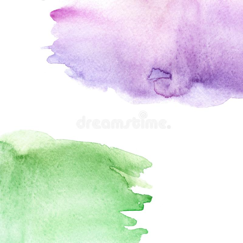 Watercolor green, purple, pink background, blot, blob, splash of pink   green paint on white background. Watercolor sky, grass spo stock illustration