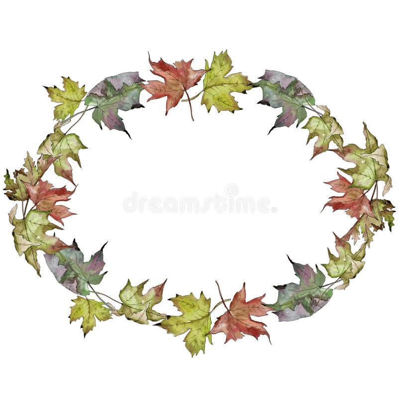 Watercolor green and red maple leaves. Leaf plant botanical garden floral foliage. Frame border ornament square. stock illustration