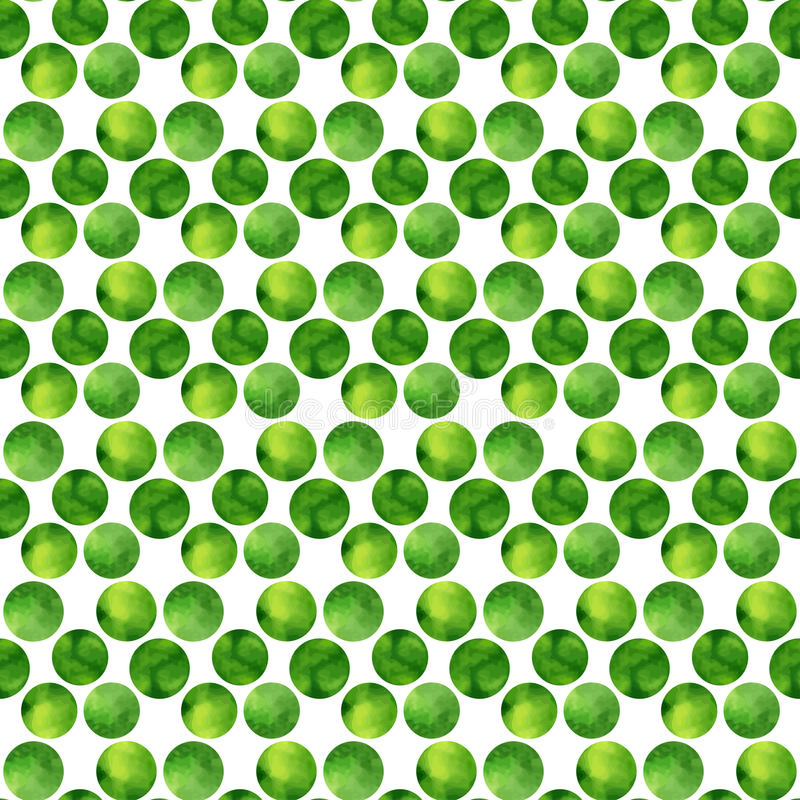 Watercolor green seamless pattern. Polka dots hand drawn. Abstract background with circles. Vector illustration. vector illustration